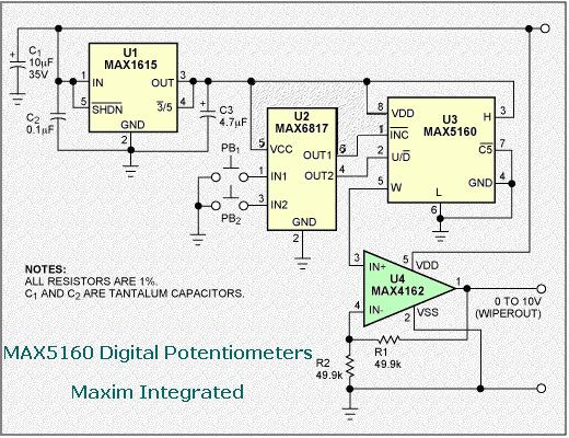 MAX5160 Digital Potentiometers - Maxim