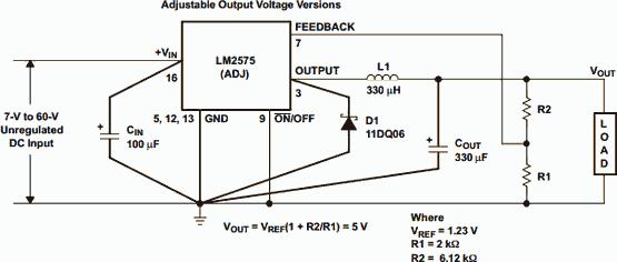 LM2575 - Buck Adjustable Switching Regulator
