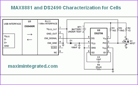 MAX8881 and DS2490 Characterization for Cells